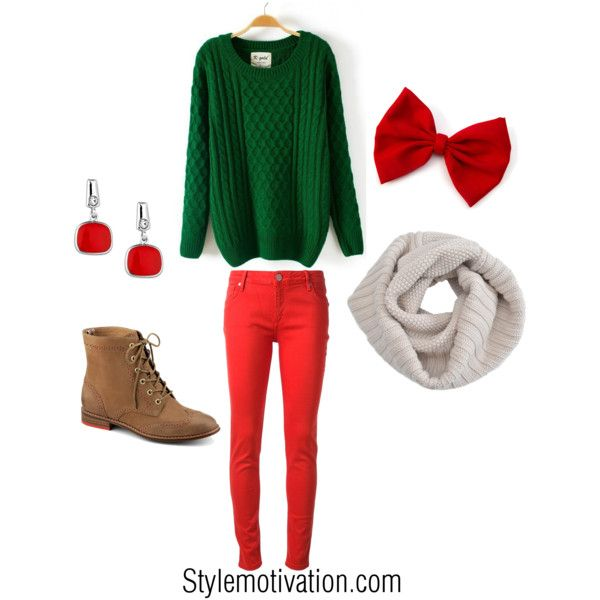 Red and green Christmas outfit