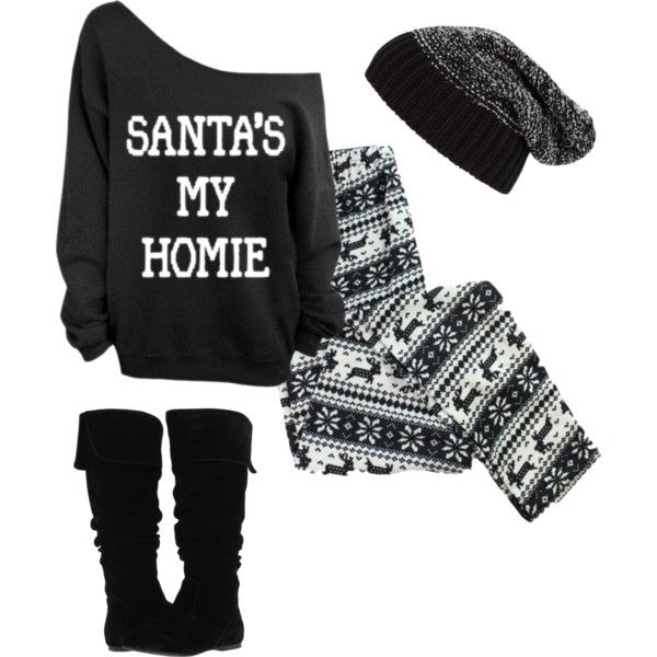 Santa homie merry Christmas sweater, knit black leggings, reindeer beanie, knee high boots – teen fashion cute style outfit from Polyvore
