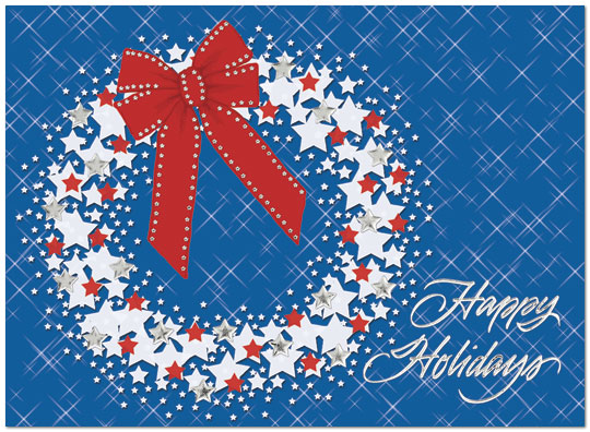 Star Wreath – Show your love for the United States with this patriotic holiday card