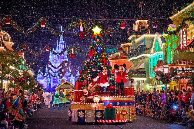 Christmas lights at Disney World, Los Angeles, USA