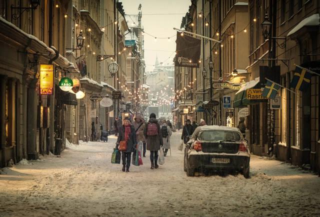 Christmas lights in Stockholm, Sweden