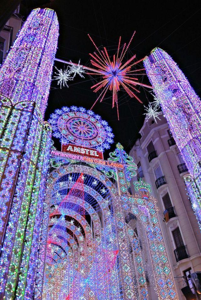 Valencia, Spain. Las Fallas festival, iluminación Calle Cuba