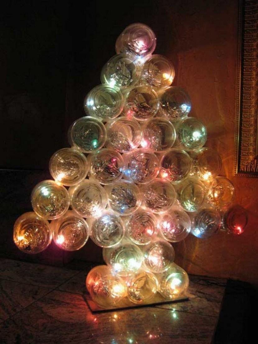 Christmas tree made out of baby food mason jars