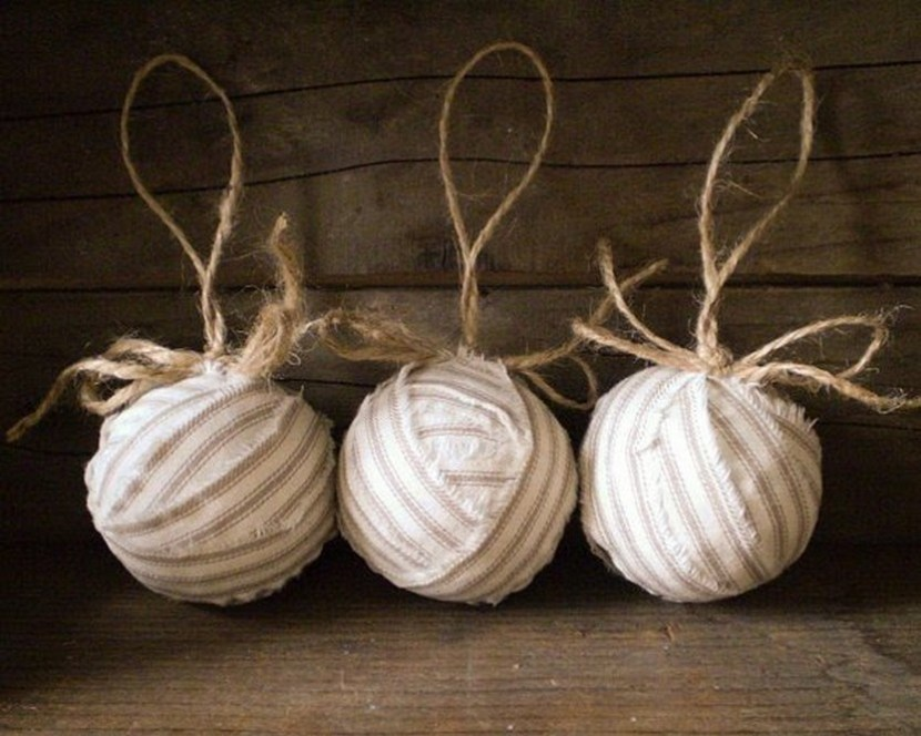 Ragball ornaments - rustic natural cotton
