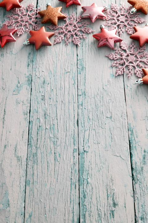 Photo Of Rustic Christmas Border On Blue Textured Wood