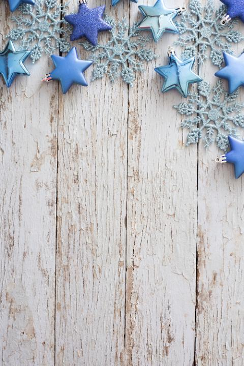 Photo Of Border Of Blue Ornaments On Rustic White Wood