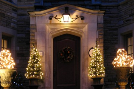 Pre-Lit Potted Christmas Trees at Your Front Door