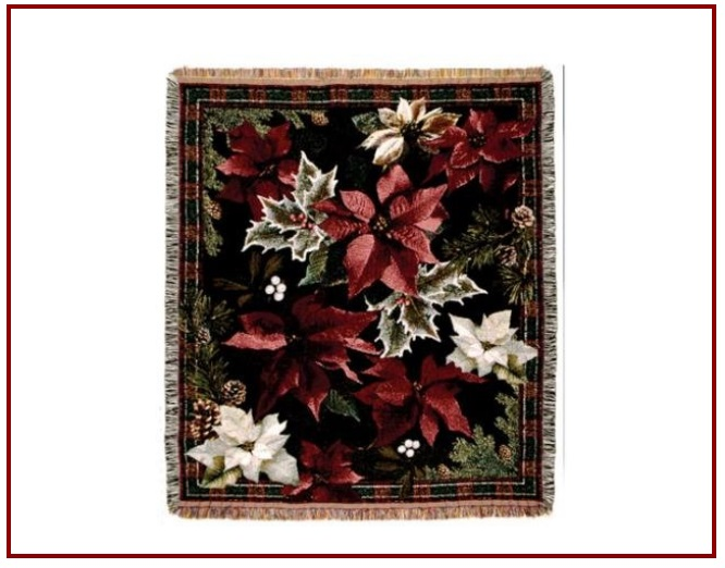 Christmas poinsettia throw