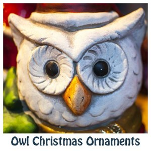 Selection of owl Christmas ornaments