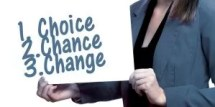 "Frau mit Tafel ""change"""