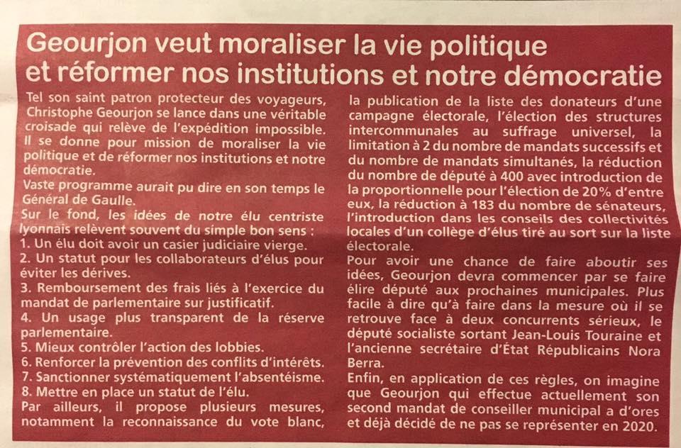 [PRESSE]Moraliser et rénover la vie politique Française