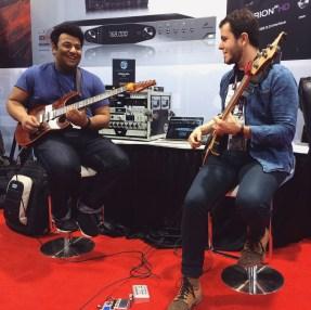 Demoing at Antelope Audio with Guitarist Pritesh Walia