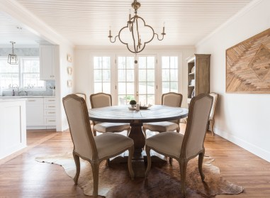 Existing dining room with new millwork and bead-board ceiling. Photo courtesy: Julia Steele