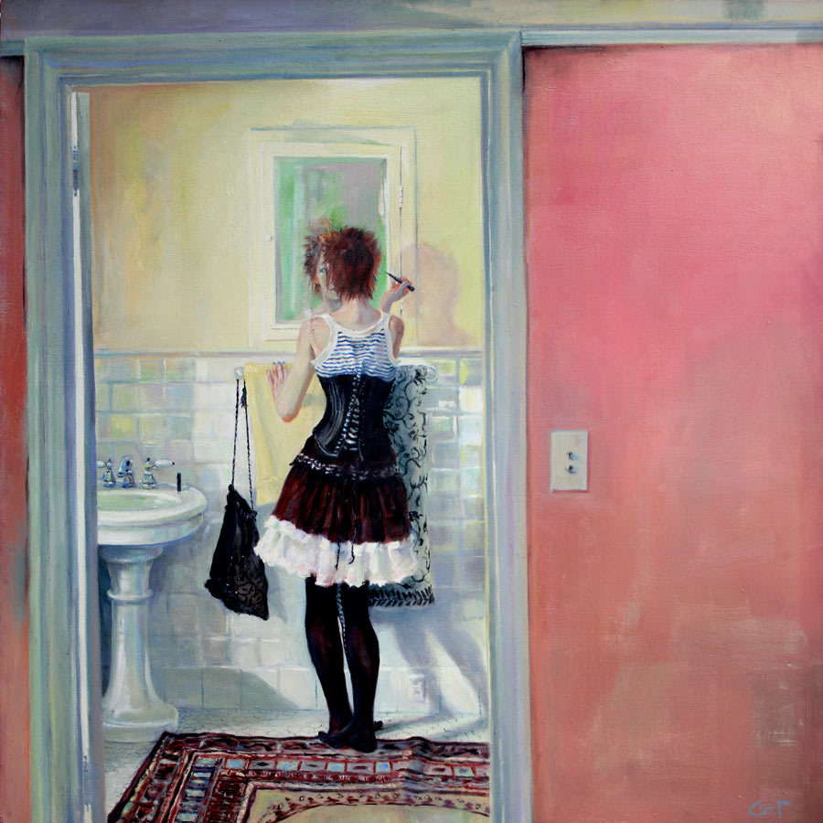 Shows a very young woman in semi-goth attire getting ready to go out at her bathroom mirror