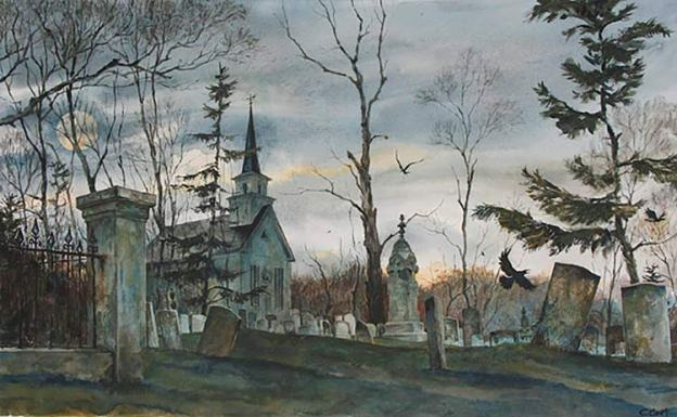 Watercolor illustration of a spooky fall churchyard in Maine