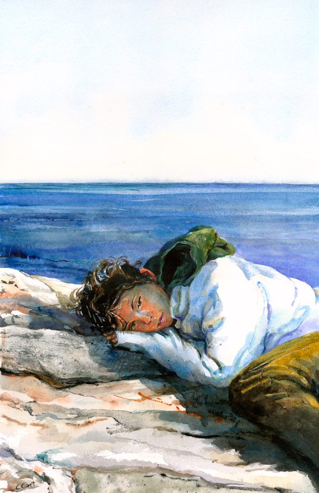 Tender watercolor of the artist's teenage daughter resting on the rocks on the Maine coast.