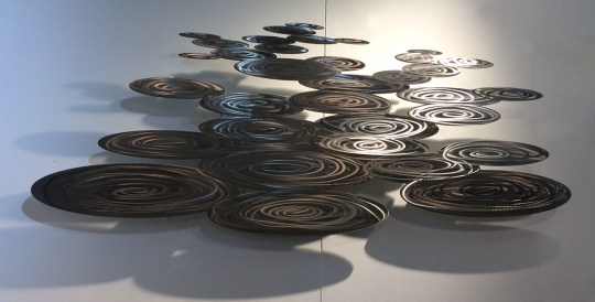 Erney Raindrops stainless steel metal wall sculpture artwork river spring storm peaceful relaxing soothing
