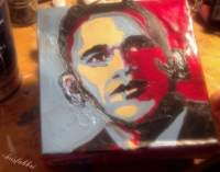 "2017 Barack Obama, acrylic on cardboard 6 1/2""x6 1/2"" ChrisFabbri.com"
