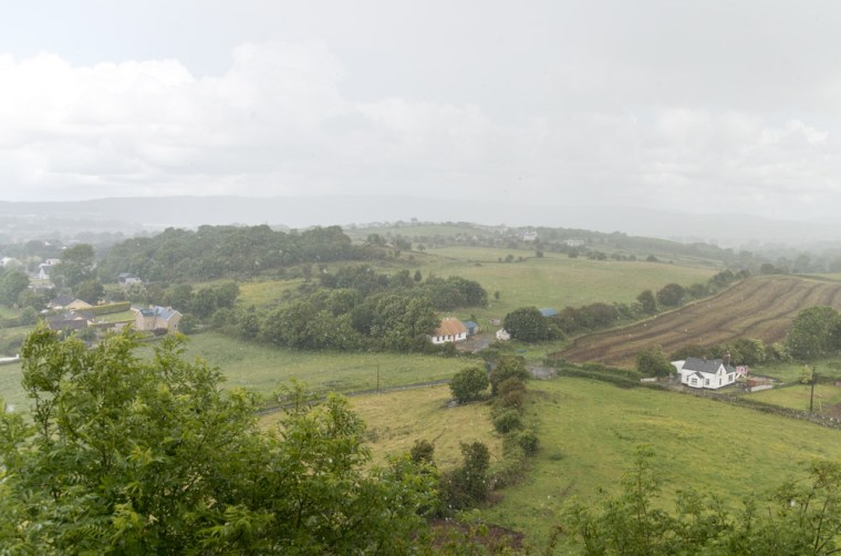 The Irish countryside in a drizzle, seen from Carrigogunnell Castle Ruin