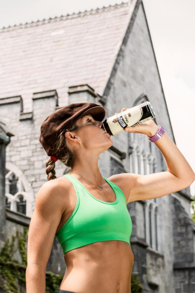 Corky drinking a can of Murphy's Irish Stout at University College Cork