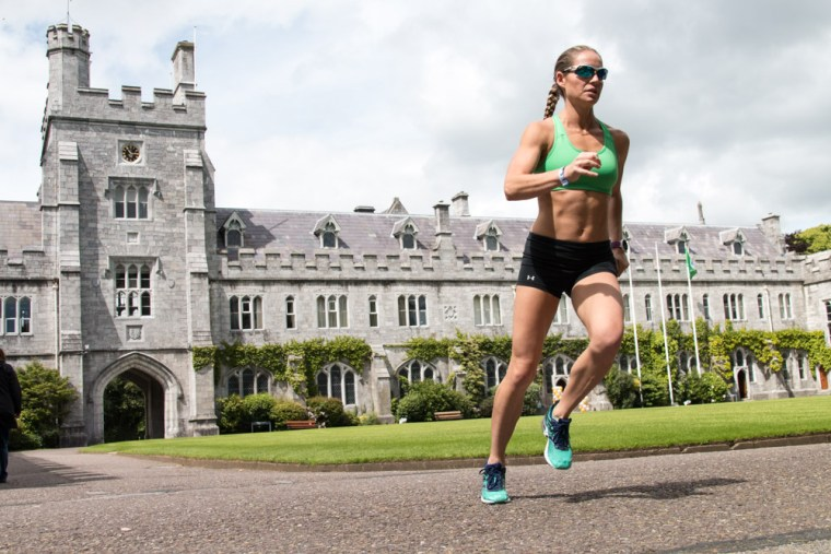 Corky running in front of the Long Hall at University College Cork