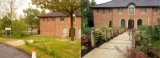 Before: Paved ramp down – No handrail to the building with poor planting and low standards of maintenance evident. After: Ramp relaid with handrail, textured slabs and the Hospice mix of shrubs and perennials