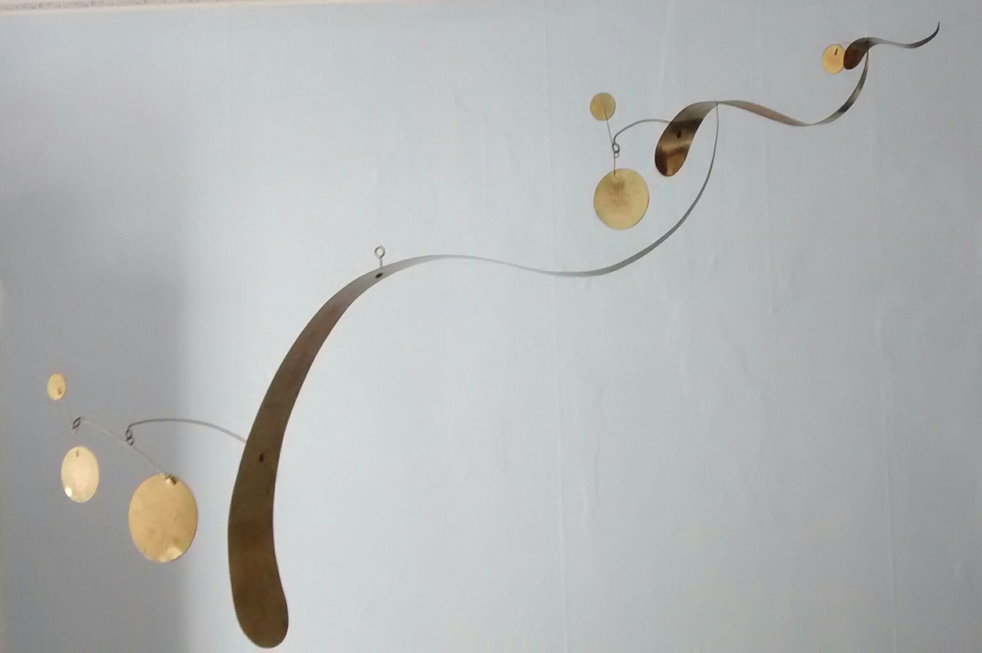 "Hanging Brass ""S"" Mobile with Circles"