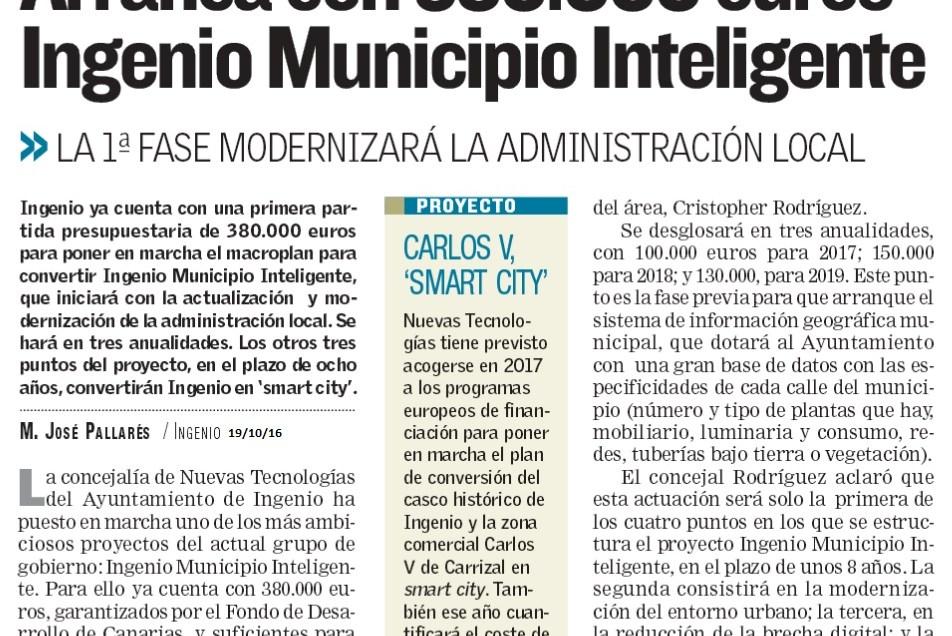 Arranca con 380.000 € «Ingenio Municipio Inteligente».