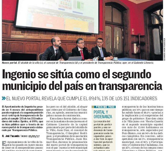 Ingenio se sitúa como el segundo municipio del país en transparencia.