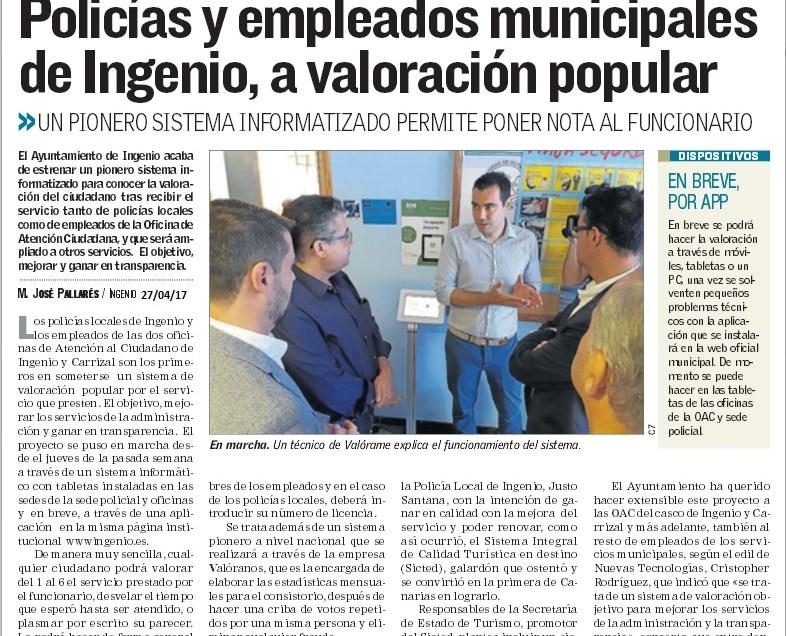 Policias y Empleados Públicos de Ingenio, a valoración popular.