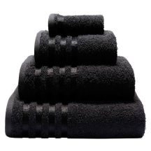 A pyramid of black towels