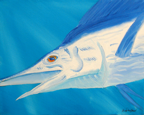 Marlin, billfish, bill, fish, sport, gamefish, painting, art