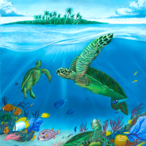 Three sea turtles enjoying a tropical reef.