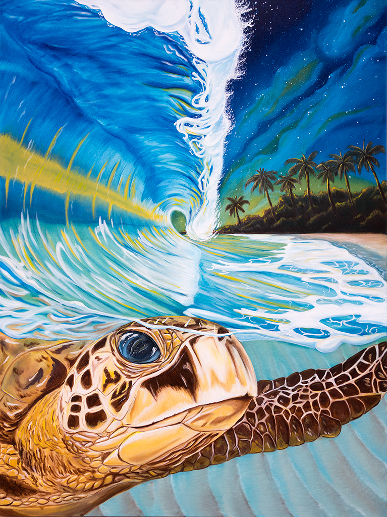 sea turtle riding a wave