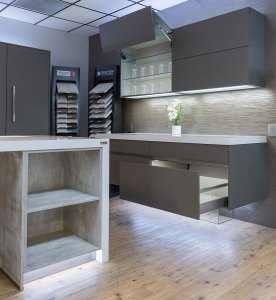 Matte grey and concrete German kitchen cabinetry from Bauformat at Christopher's Kitchen & Bath.