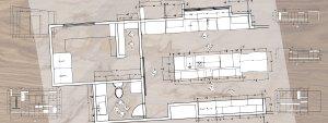 Kitchen and powder bathroom floor plans designed by Christophers Kitchen & Bath.