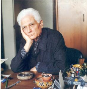 Derrida at his desk