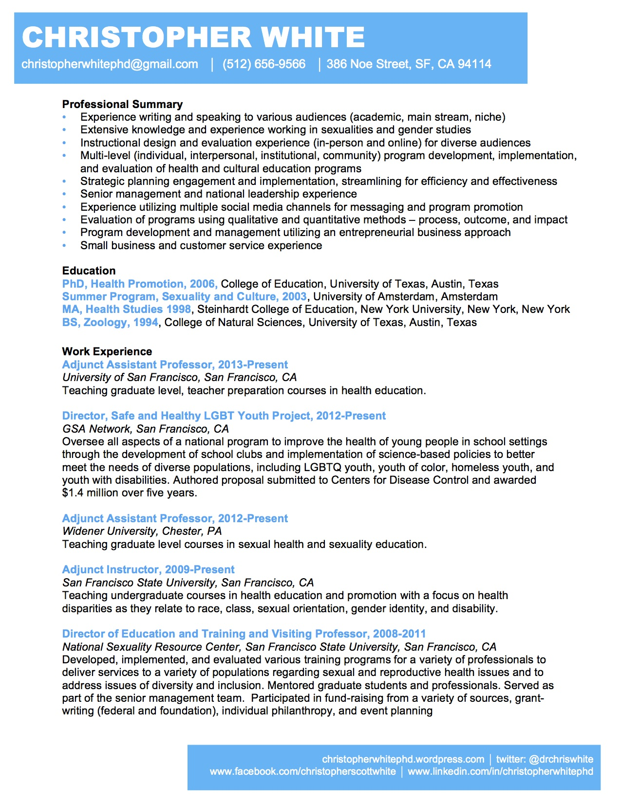 my resume christopher white phd