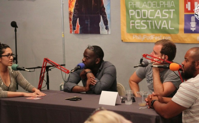 Archna Sahay, Uri Pierre Noel, Christopher Wink and El Sawyer at the Philadelphia Podcast Festival in August 2016