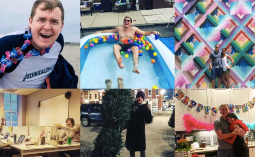 Six pictures from my 2017: me looking fun and personal downtheshore, in a block party pool and elsewhere.