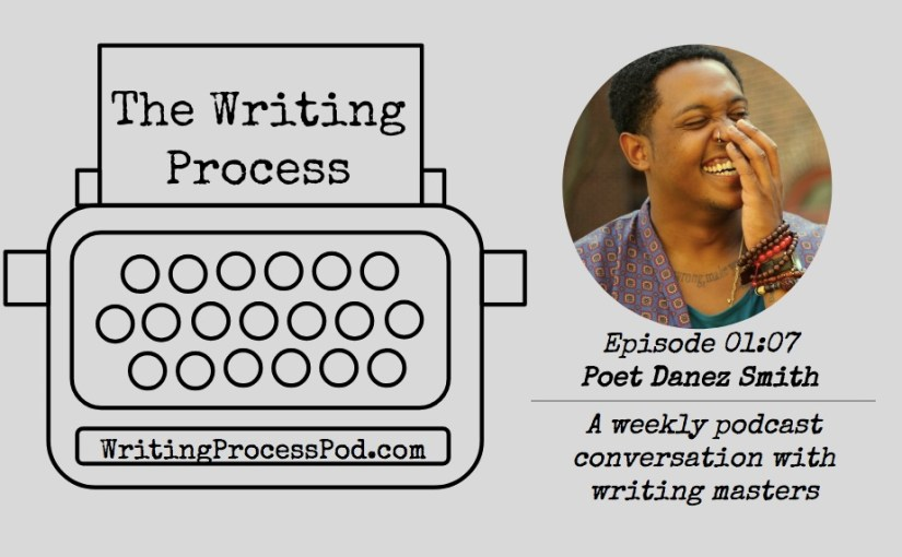 Headshot of Danez Smith laughing with the Writing Process podcast typewriter logo
