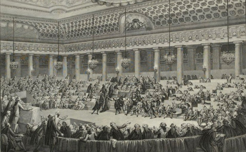 image of the French Assembly, a black and white illusrtration of hundreds of people crowding around