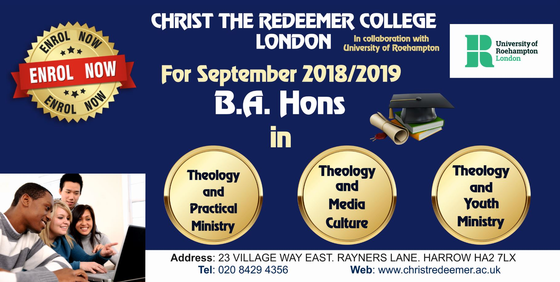 Advert for BA theology courses at CRC