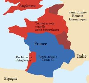 Carte des possessions anglaises
