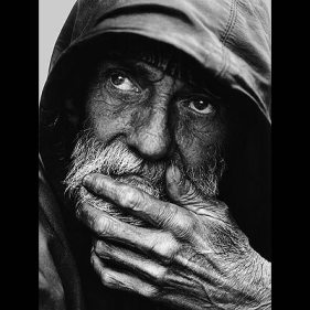 Pensive Homeless Man