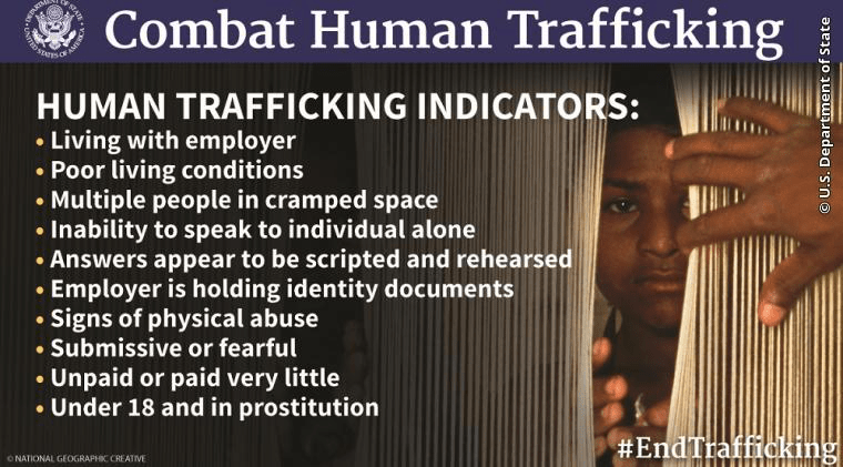 U.S. Department of State – What to Do If You Encounter a Potential Instance of Human Trafficking?