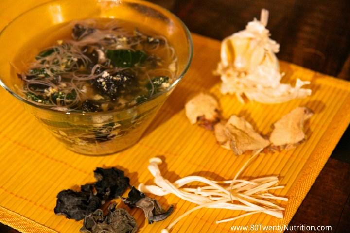 Black Fungus Mushroom Egg Drop Ramen Soup - Christy Brissette dietitian 80 Twenty Nutrition - enoki mushrooms
