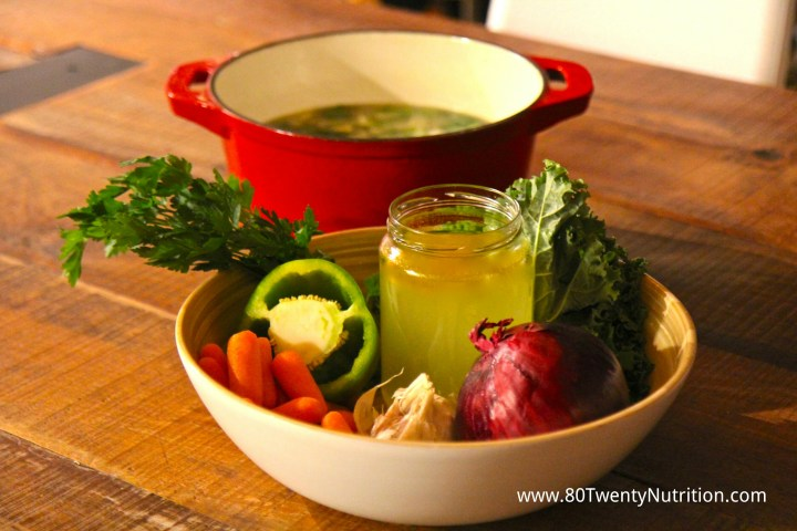 Vegetable Stock carrots onion garlic healthy and easy Christy Brissette dietitian 80 Twenty Nutrition