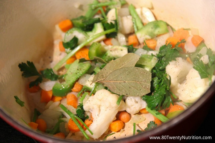Vegetable Stock sautee and sweat the vegetables for maximum flavour - Christy Brissette dietitian 80 Twenty Nutrition