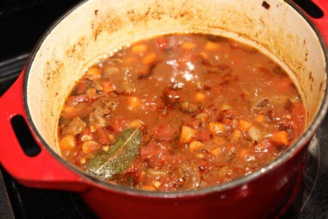 Jerk Beef Stew on the stove - Christy Brissette dietitian 80 Twenty Nutrition